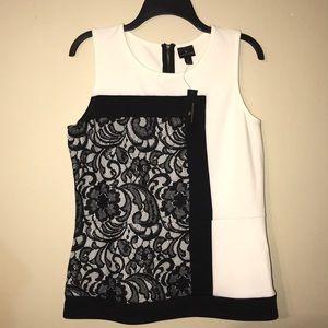Peplum Worthington black and white lace top
